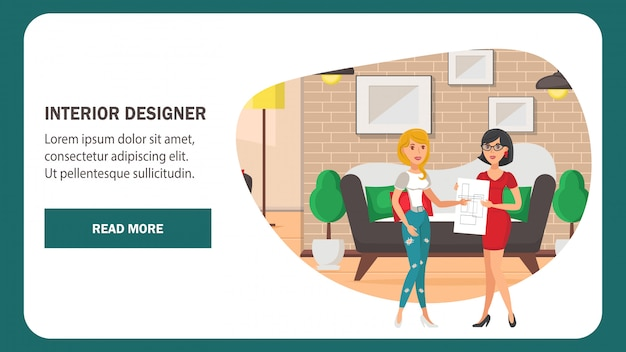 Modelo de vetor de página de web designer de interiores.