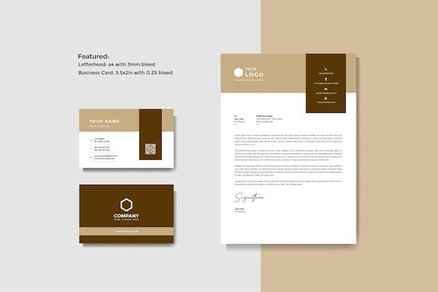 Modelo de vetor de papel timbrado e cartão de visita criativo profissional