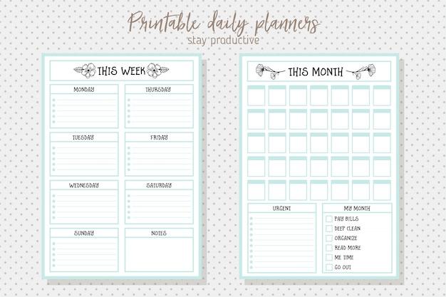 Modelo de vetor de planejador diário de estilo limpo. design de papelaria