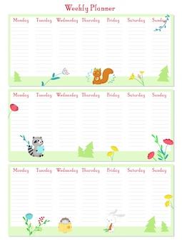 Modelo de vetor de planejador semanal com animais fofos