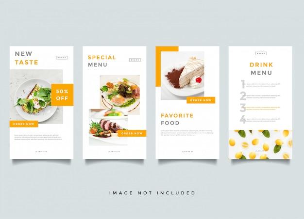 Modelo de vetor de promoção de histórias de instagram de comida e culinária