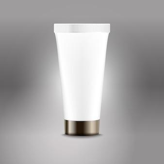 Modelo de vetor de publicidade de tubo de plástico. modelo de frasco de creme para logotipo da marca