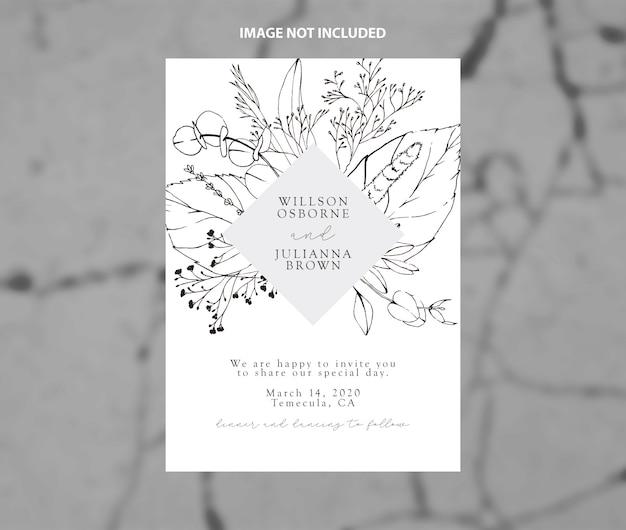 Modelo de vetor de ramos de convite de casamento moderno preto e branco