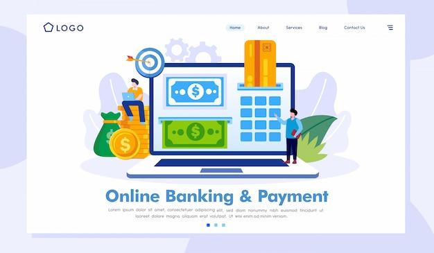 Modelo de vetor de site de página de destino de banco e pagamento on-line