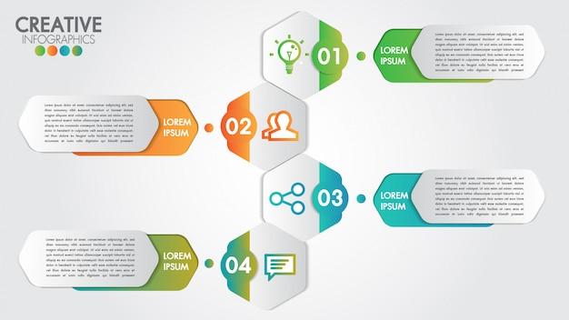 Modelo de vetor design moderno infográfico para negócios com 4 etapas ou opções