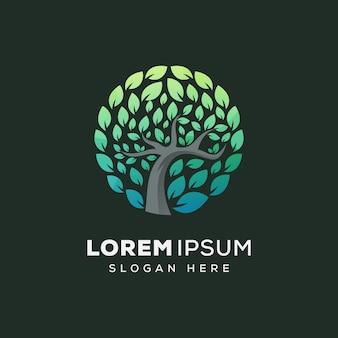 Modelo de vetor do círculo árvore natureza logotipo