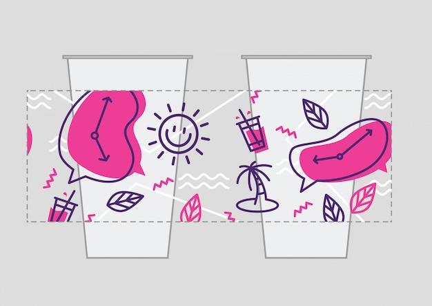 Modelo de vetor do copo bebida rótulo embalagem autocolante