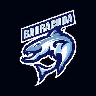 Modelo de vetor do logotipo do mascote barracuda esport
