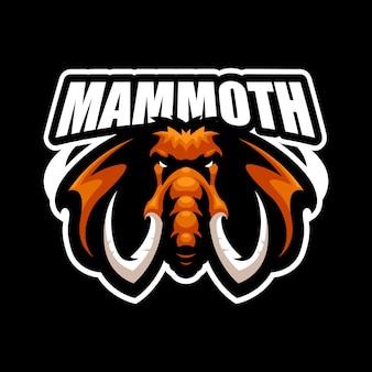 Modelo de vetor do logotipo do mascote mammoth esport