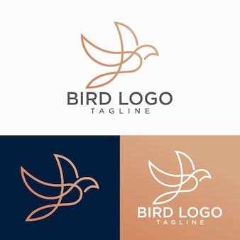 Modelo de vetor do logotipo do pássaro design de contorno lineart abstrata