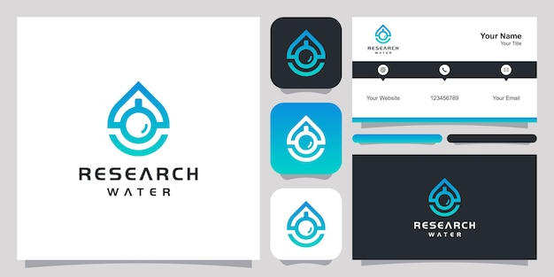 Modelo de vetor do símbolo do ícone de design de logotipo de água. design de logotipo e design de cartão de visita.