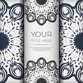 Modelo de vetor elegante para imprimir design cartão postal cor branca com ornamento vintage azul escuro. preparando um cartão de convite com padrões gregos.