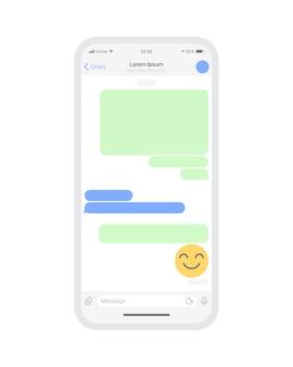 Modelo de vetor em branco de conceito de interface do usuário do aplicativo de bate-papo móvel