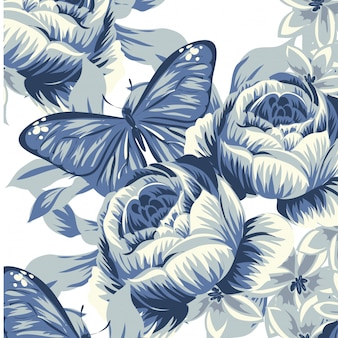 Modelo de vetor floral folhas sem costura padrão fundo
