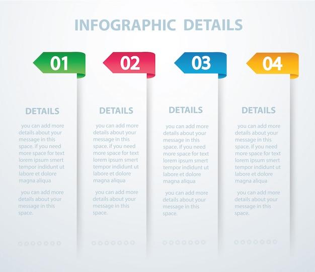 Modelo de vetor gráfico de informação com 4 opções