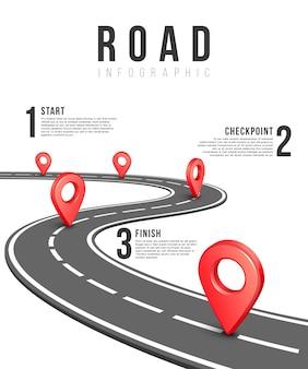 Modelo de vetor infográfico de estrada