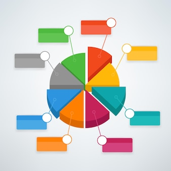 Modelo de vetor infográfico de gráfico de pizza de cores. modelo de vetor para apresentação