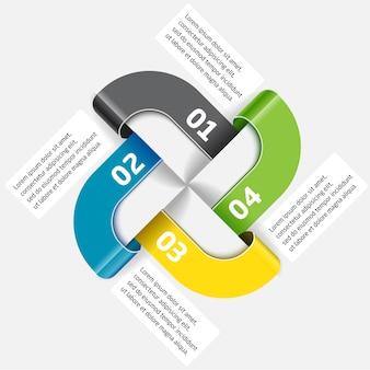 Modelo de vetor infográfico dos quatro segmentos e cores