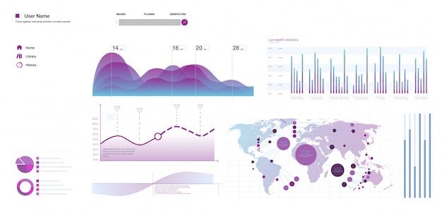 Modelo de vetor infográfico moderno moderno com gráficos de estatísticas e gráficos de finanças.
