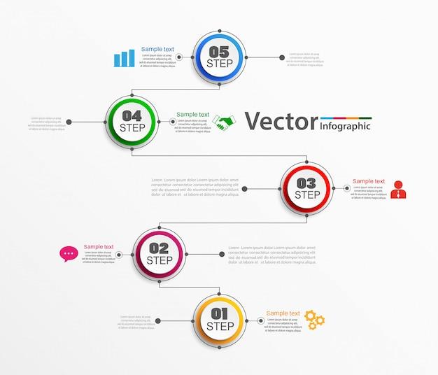Modelo de vetor infográficos com etapas