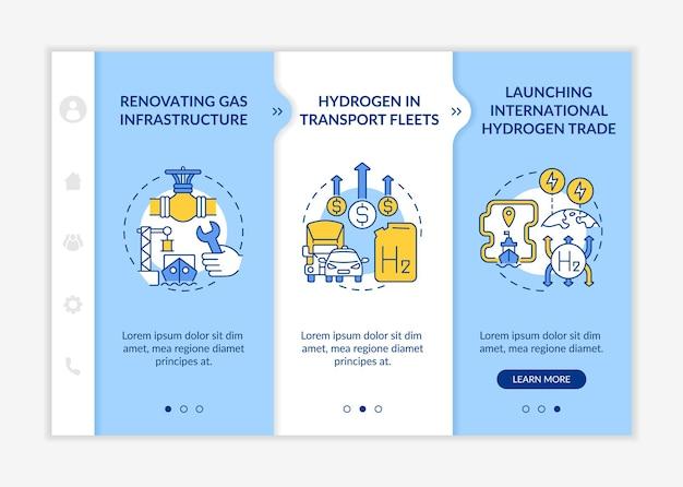 Modelo de vetor integração de promoção de energia verde. site móvel responsivo com ícones. passo a passo da página da web em telas de 3 etapas. renovação do conceito de cores da infraestrutura de gás com ilustrações lineares