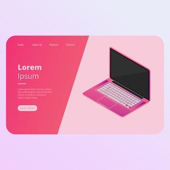 Modelo de vetor isométrica landing page laptop
