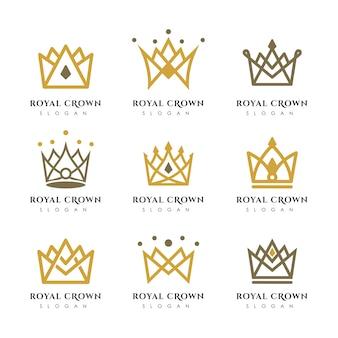 Modelo de vetor logotipo coroa luxo. design de logotipo linear coroa.