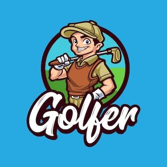 Modelo de vetor logotipo mascote jogador de golfe