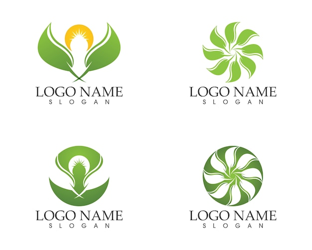 Modelo de vetor logotipo natureza folha ícone