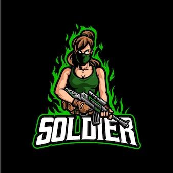 Modelo de vetor logotipo soldado menina mascote