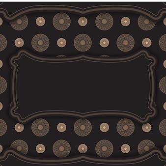 Modelo de vetor luxuoso para cartão postal de design de impressão na cor preta com ornamentos gregos. preparando um convite com um lugar para seu texto e padrões vintage.
