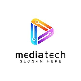 Modelo de vetor mídia moderna tecnologia logotipo design