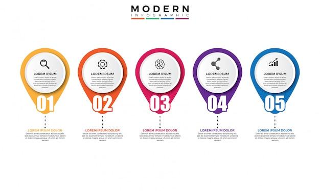 Modelo de vetor moderno colorido infográfico