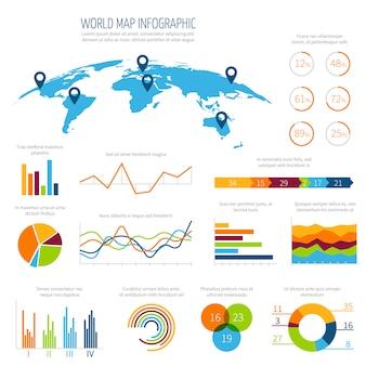 Modelo de vetor moderno infográfico com mapa-múndi 3d e gráficos