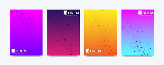 Modelo de vetor moderno para brochura, folheto, panfleto, capa, banner, catálogo, revista ou relatório anual em tamanho a4. design futurista de ciência e tecnologia. plexo de linhas