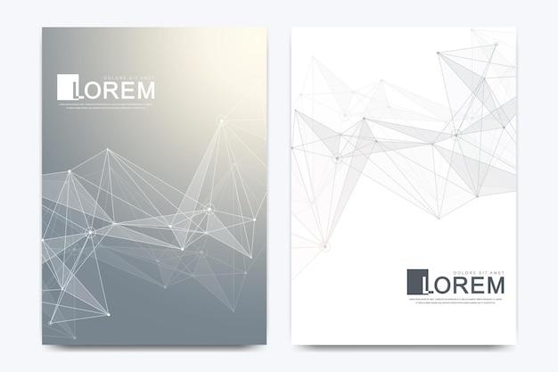 Modelo de vetor moderno para brochura, folheto, panfleto, capa, catálogo em tamanho a4. hélice de dna, fita, molécula ou átomo de dna, neurônios. estrutura abstrata para ciência ou formação médica