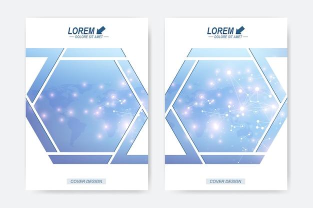 Modelo de vetor moderno para brochura, folheto, panfleto, capa, livreto, relatório anual ou revisto. molécula de fundo geométrico e comunicação. estrutura da molécula de dna e conceito de neurônios.