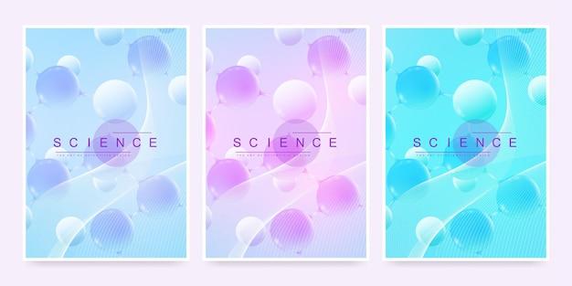 Modelo de vetor moderno para brochura, folheto, panfleto, capa, relatório anual ou revisto. tamanho a4 com moléculas 3d abstratas coloridas. atoms. neurônios. banner médico. ilustração vetorial.