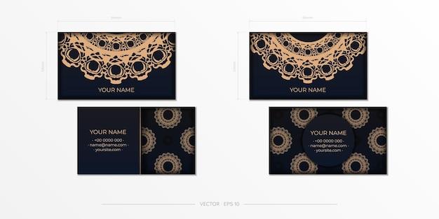 Modelo de vetor para imprimir cartões de visita de design em preto com padrões de luxo. cartão de visitas