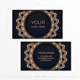 Modelo de vetor para imprimir cartões de visita de design em preto com padrões de luxo. preparação de cartão de visita com ornamentos vintage.