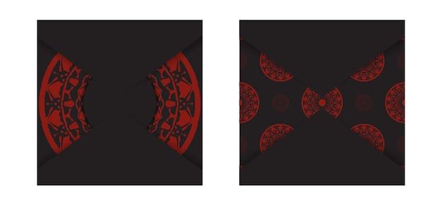 Modelo de vetor para imprimir design cartão postal cores pretas com ornamento grego. preparando um convite com um local para seu texto e padrões de luxo.