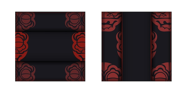 Modelo de vetor para imprimir design cartão postal cores pretas com padrões de dragão chinês.