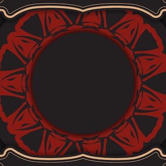 Modelo de vetor para imprimir design cartão postal cores pretas com padrões gregos. preparação de vetor de cartão de convite com lugar para o seu texto e ornamento.