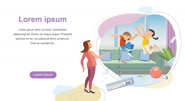 Modelo de vetor parenting startup landing page