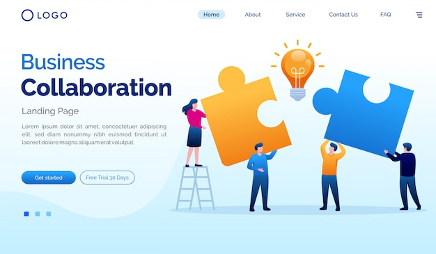 Modelo de vetor plana de ilustração de site de colaboração de negócios