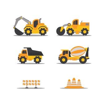 Modelo de vetor plana de máquinas de construção