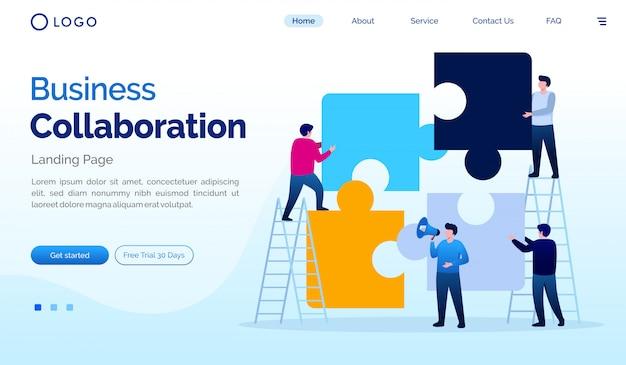 Modelo de vetor plana de página de destino de colaboração de negócios