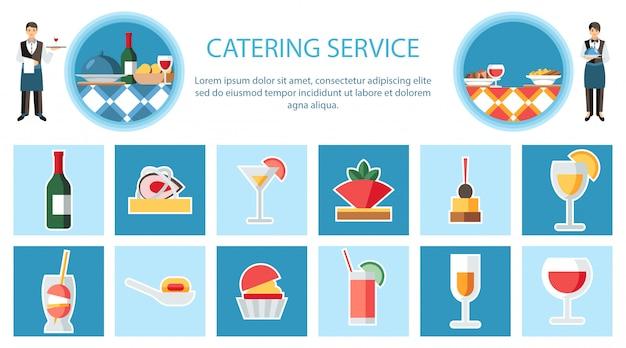 Modelo de vetor plana de página web de serviço de catering