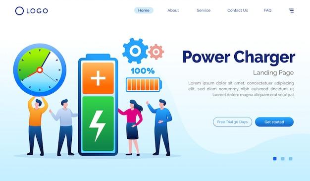 Modelo de vetor plana de site de página de destino de carregador de energia