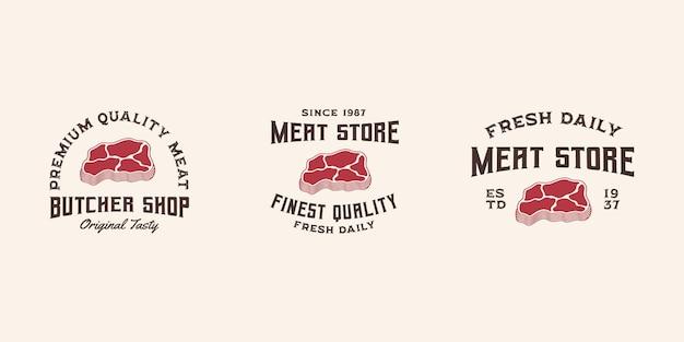Modelo de vetor premium de logotipo de carne fresca, loja de carnes, logotipo de carne, churrascaria, bife de carne